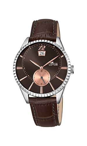 Lotus Men's Quartz Watch with Brown Dial Analogue Display and Brown Leather Strap 18322/5