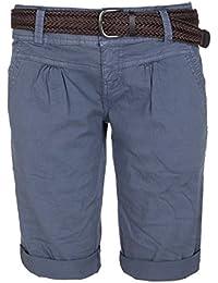Fresh Made Damen Bermuda-Shorts im Chino Style | Elegante kurze Hose mit Flechtgürtel