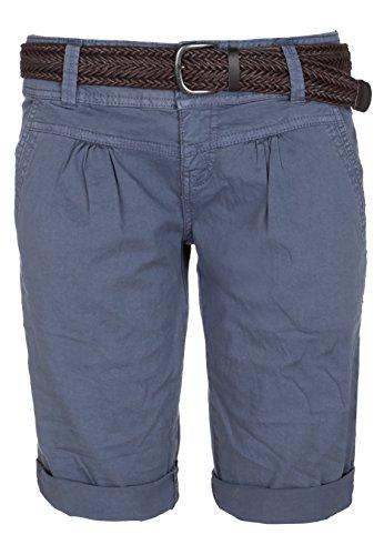 Fresh Made Damen Bermuda-Shorts im Chino Style | Elegante kurze Hose mit Flechtgürtel middle-blue M