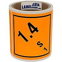 Gefahrgutaufkleber - Klasse 1 - Explosive Stoffe (1,4 - S - 1) - 100 x 100 mm - 100 Gefahrgutetiketten, Papier, orange, permanent haftend