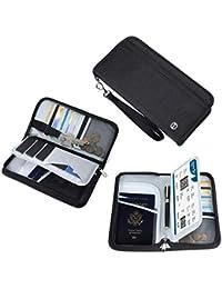 Vemingo Porte-Passeport Portefeuille de Voyage Familial avec Blocage RFID Porte-Document Pochette de 5 Passeports, Carte d'Identité, Carte de Crédit, Billets d'avion pour Femme Homme