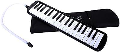 Melódica Cahaya, Piano de Viento con 37 Teclas, Incluye Tubo de Soplado, Boquilla y Bolsa de Transporte (Negro)