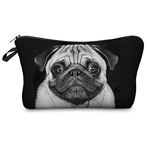 Pen Pencil Case Organiser Wallet Coins Pouch Travel Zipper Purse Fully Printed 20 Designs (Pug Dog)