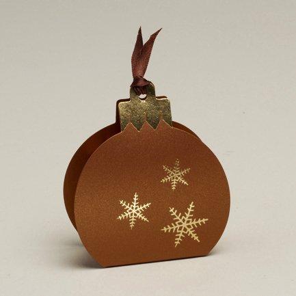 Ballotins à dragées - boites à chocolat Noël ORIGINALE CLASSE ELEGANTE Forme boule de Noël Vitamine ou Nacré avec impression blanc ou argent couleurs au choix x6 noël mariage baptême communion anniversaire- Les Gourmandises de Heidi (Nacré Bronze imp. or)