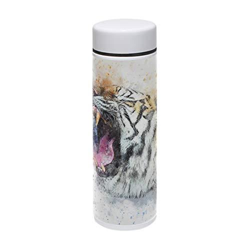 MUOOUM Tiger Trinkflasche mit offenem Mund, Vakuum-isoliert, Edelstahl, für 12 Stunden
