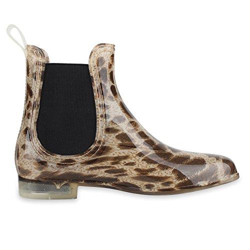napoli-fashion Damen Lack Stiefeletten Gummistiefel Chelsea Boots Schuhe Gr. 36-41 Jennika Leopard