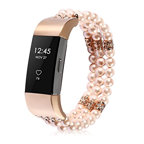 KATUMO Armband Für Fitbit Charge 2, Damen Fitbit Charge 2 Armband - Perlen Wristband Armbänder für Fitbit Charge2, Golden