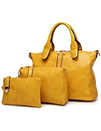 0a74b41378e DI GRAZIA Women s 3 In 1 Combo Of Handbag Satchel, Sling Bag   Wrist Pouch (Yellow-Leather-3In1…