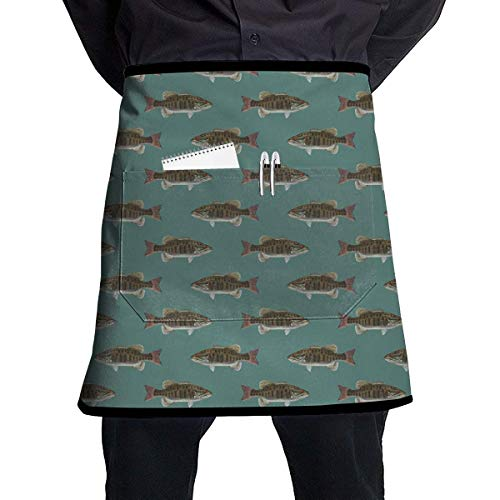 MSGDF Fishing Fish Bass Smallmouth Lake Blue Great Lakes Waist Apron Server Apron with Pockets Commercial Restaurant Waitress Waiter Waterproof Kitchen Apron for Men Women Half Bistro Aprons -