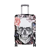 MyDaily Vintage Skull with Floral Black Luggage Cover Fits 18-32 inch Suitcase Spandex Travel Protector