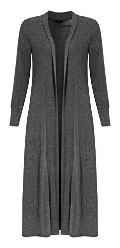 Fast Fashion-Cardigan maniche lunghe piccolo amico Pianura Maxi aperto lungo-Donne carbone 44