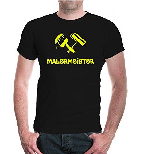 buXsbaum® T-Shirt Malermeister Black-Neonyellow