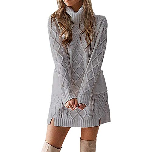 4f98021c25d BaZhaHei New Womens High Polo Neck Chunky Cable Knitted Jumper Mini Tunic  Dress Top Vintage Woven
