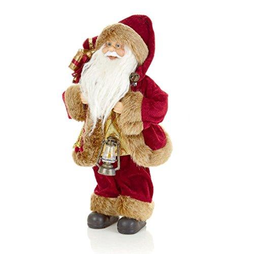 Burgundy/Gold 30Cm-40Cm Sitting Or Standing Santa - Christmas Room Decoration