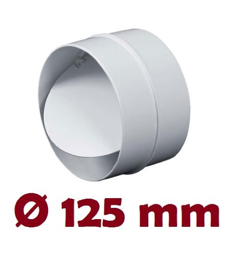 Verbindungsstück mit Rückstauklappe Verbinder Lüftungsrohr Rundkanal Rohr Ø 125 mm Lüftungsanlage Kanal K0125 22