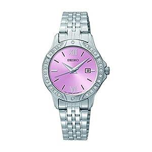 Seiko – Reloj de pulsera para mujer, esfera rosa, acero inoxidable