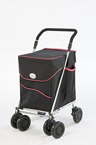 Sholley Petit Deluxe Einkaufswagen und Gehhilfe, Einkaufsroller, Einkaustrolley im Schwarz und Rosa. Petite Ist Für Personen 161 Centimetres und Darunter.