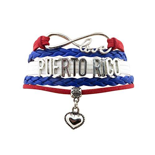 Angepasste Unisex Leder Leder Metall Flagge Armband Armband Manschette (Puerto Rico)