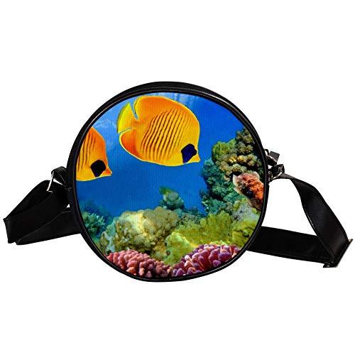 TIZORAX Kleine Umhängetasche, Korallenriff und tropische Fische, für Damen und Mädchen -