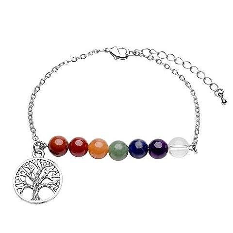 Jovivi 8mm-7 Chakra Pierres Naturelles Perles d'Energie Bracelet Réglable Alliage