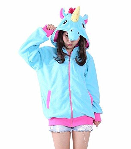 Hstyle Unisex Cartoon Unicorno Costume Felpe Con Cappuccio, Tasche Laterali Zip Con Cappuccio Animale Cosplay Felpa Casual Carino Indossare Giacca Blu M
