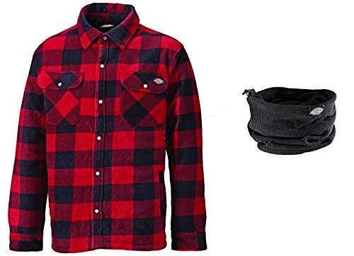 Dickies Thermohemd Portland SH5000, gefüttertes Hemd im Holzfällerlook, optimal für Herbst & Winter (Rot mit Halswärmer, XL)