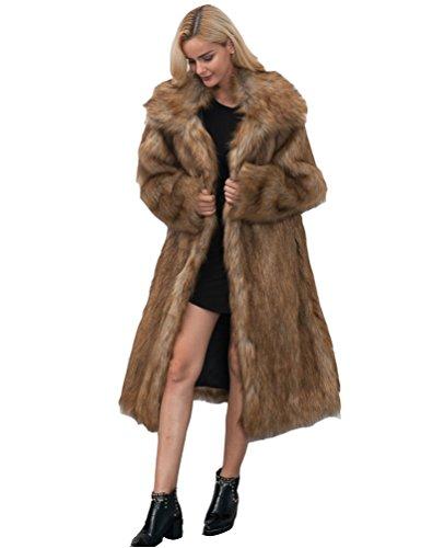 Yuandian donna autunno e inverno casuale colletto quadrato lungo parka cappotto di pelliccia sintetica elegante morbido caldo ecologiche faux pellicce lunghe giubbotto capispalla marrone s