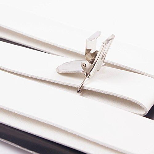 Panegy Vintage Bretelle Y en PU cuir Suspendre Pour Homme Femme avec 3 Clips 2.2 CM Modèle Skinny Pour Pantalons Chemise - 5 couleurs Blanc