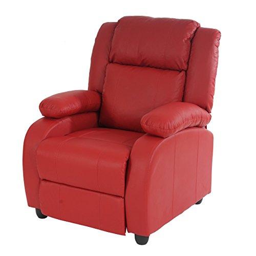 Fernsehsessel Relaxsessel Liege Sessel Lincoln, Kunstleder ~ rot