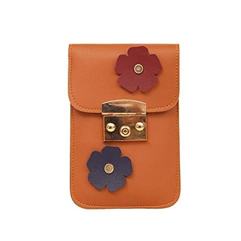 Zarupeng Damen Applique Blumen Messing Schnalle Mini Telefon Tasche Geldbörse (Braun)