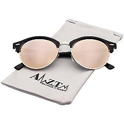 AMZTM Halbrand Wayfarer Verspiegelt Damen Rosa Sonnenbrille Retro Klassisch Polarisiert Sonne Brille