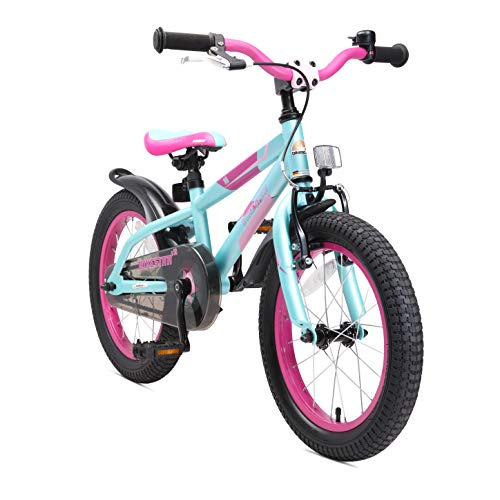 BIKESTAR Kinderfahrrad 16 Zoll für Mädchen und Jungen ab 4-5 Jahre | 16er Kinderrad Mountainbike | Fahrrad für Kinder Berry & Türkis