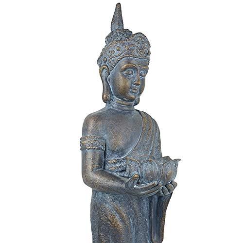 SVITA Buddha Tempelwächter stehend Deko Figur Asien Statue Skulptur 89 cm groß Feng Shui Stein-Optik grau