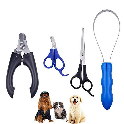 Xrten 4 Stück Haustier Fellpflege Set,Edelstahl Krallenzange Krallenschere für kleine Hunde,Welpen,Katzen