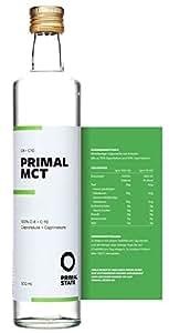 PRIMAL MCT Öl in Glasflasche | Extrakt aus Kokosöl | Geschmacksneutral | Caprylsäure (C-8) und Caprinsäure (C-10) | Bulletproof Coffee, Low Carb, Ketogen, Paleo und vegan | MCT Oil - 500ml