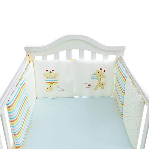 LY-LD Baby Bed Bumper Sets von 6-Piece, Soft Breathable Cotton Kissen Krippenschutz für 0-36 Monate Säugling
