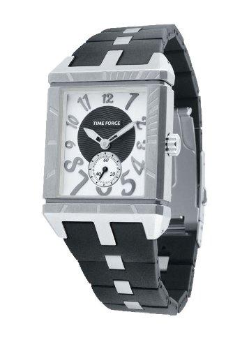 Time Force Orologio da donna al quarzo con quadrante bianco e cinturino in gomma nero–TF2958L02