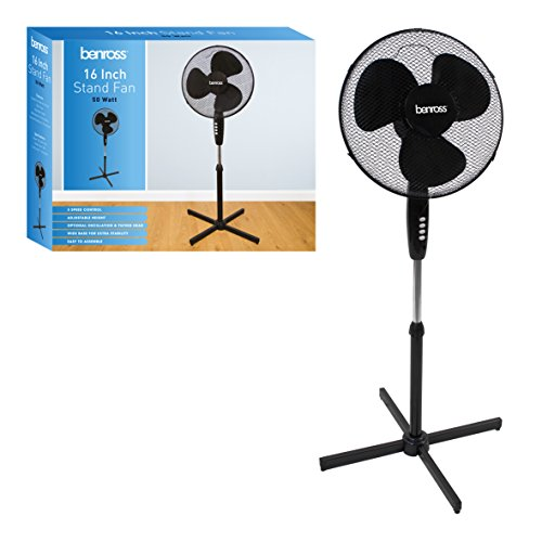 41a1W2lXJWL. SS500  - Benross 43830 16 inch 3-Speed Stand Fan Oscillating and Tilting Head, 50W, Black, 50 W
