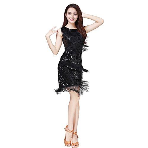 Pailletten Latin Dance Dress für Damen,Reefa Frauen Salsa Samba Tango Cha Cha Ballroom Quaste Kleid Tanz Kostüm Tanz Kleidung