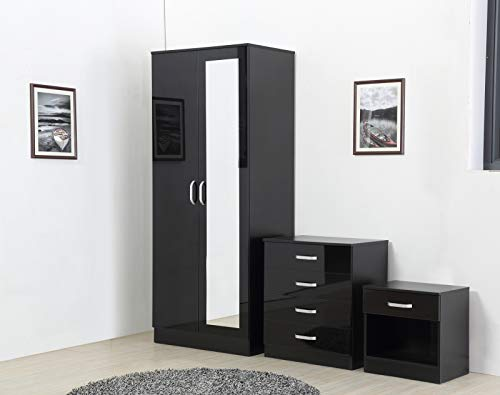 Fairpak Gladini High Gloss Mirrored 3 Piece Bedroom Furniture Set - Includes Wardrobe, 4 Drawer Chest, Bedside Cabinet (Black