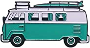 VW Surf Van Bus Happy Camper Aqua Enamel Lapel Pin 1.5&