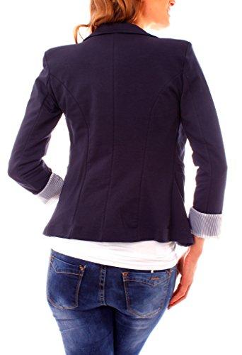 Easy Young Fashion Damen Jerseyblazer Gefüttert Slim Fit Marine