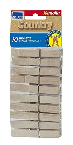 10 Mollette da bucato in legno resistente, mollette per il bucato, mollette bucato, set 10 pz mollette per bucato in legno country con molla antiruggine, set 10 mollette con molla art. 363 Parodi