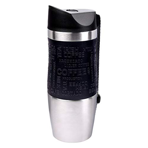 PRESIT Thermobecher to go 370ml - 100% Auslaufsicher - Isolierbecher aus Edelstahl - Autobecher - Trinkbecher doppelwandig vakuumisoliert - Kaffeebecher to go - mit praktischer Handschlaufe - schwarz