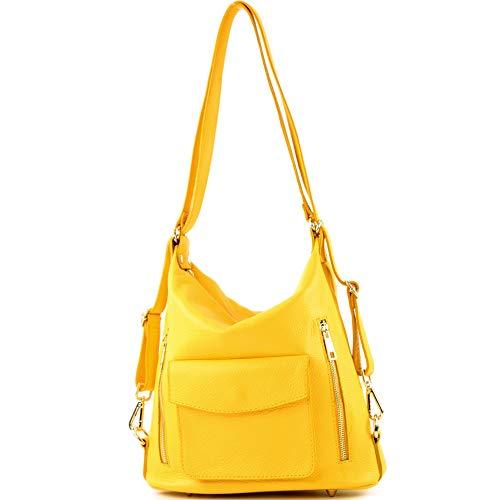 modamoda de - ital Damen Rucksack Tasche aus Leder T174, Präzise Farbe:Sonnengelb