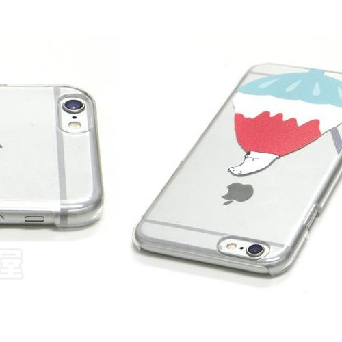 iPhone 6 Coque, TrendyBox Étui Mignon pour iPhone 6 4.7 pouce + 0.3mm verre trempé Protection D'écran + Hibou courroie de téléphone (Fleur de Cerisier) ours blanc