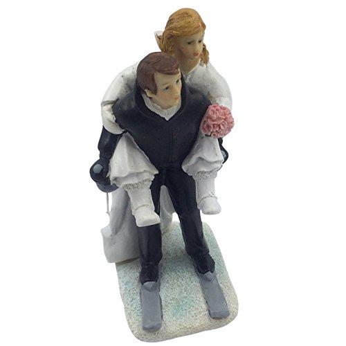 E-muse Winter Skifahren Braut und Bräutigam Hochzeits-Tortenfigur Cake Topper die Hochzeitstorte (Winter Skifahren)