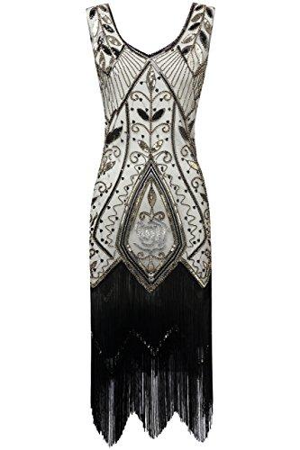 ArtiDeco 1920s Kleid Damen Retro 20er Jahre Stil Flapper Kleider mit Fransen V Ausschnitt Gatsby Motto Party Kleider Damen Kostüm Kleid (Schwarz Beige, XL (Fits 86-92 cm Waist & 100-103 ()