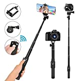 Selfie-Stick, 129,9 cm, Selfie-Stick, Einbeinstativ, abnehmbare Bluetooth-Fernbedienung, kompatibel mit iPhone 6 7 8 X Plus, Samsung Galaxy S9 Note 8, GoPro, Digitalkameras