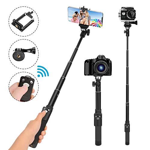LEXY Selfie Stick, monopiede 124,5cm, Rimovibile Senza Fili Bluetooth Telecomando, Compatibile con iPhone 678x Plus, Samsung Galaxy S9NOTE8, Gopro, Fotocamere digitali, Gopro adattatori Inclusi
